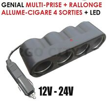SPECIAL ROUTIERS! MULTIPRISE ALLUME CIGARE + RALLONGE 4 SORTIES + LED 12V 24V