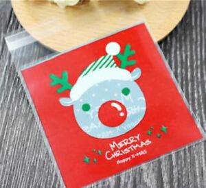 Christmas Cookie Bags Plastic Seal Rudolph Sweet Gift Bag Biscuit Bag Cellophane