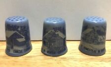Vintage blue Thimbles Lot Of 3 Winter Homestead Ceramic
