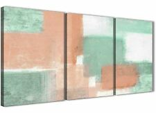 3 Piece Peach Mint Green Office Canvas Accessories - Abstract 3375 - 126cm
