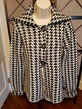 Black and white wool sweater jacket with by Kenar Size M