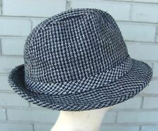 VTG Mens Wool Blend Tweed Gray Fedora Size Medium Dad Hat Hipster