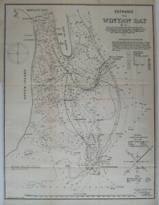 Original 1888 Channel Survey Map WINYAH BAY South Carolina Shoals Breakers Wreck