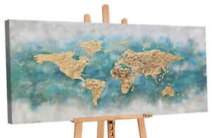 YS-Art Acryl Gemälde Weltkarte Handgemalte Bilder Leinwand Bild Kunst