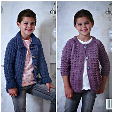 KNITTING PATTERN Childrens Easy Knit Jacket Optional Collar Chunky KingCole 4719