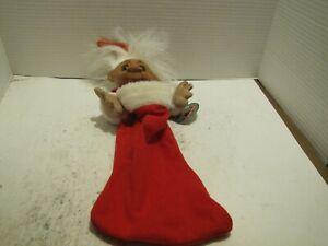 "VTG NORFIN TROLL DOLL CHRISTMAS STOCKING VINYL HEAD STOCKING 18"" NO HAT W/TAG"