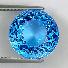 TOP LUSTER SWISS COLOR BLUE * 10.40 ct NATURAL TOPAZ ROUND  _ 3358