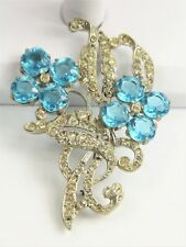ESTATE Jewelry HUGE MAZER STYLE ERA POT METAL TURQUOISE GLASS FLOWER BROOCH