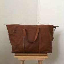 ZARA Man Brown Tan Natural Leather Large Maxi Weekend Duffle Carry On Travel Bag