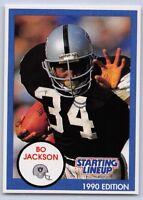 1990  BO JACKSON - Starting Lineup Card (SLU) LOS ANGELES RAIDERS - (WHITE)
