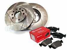 GROOVED FRONT BAKE DICS + BREMBO PADS FOR Mitsubishi L 200 2.5 Di-D (KB4T) 07-On