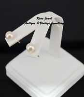 VINTAGE 9CT GOLD WHITE PEARL EARRINGS STUDS HALLMARKED
