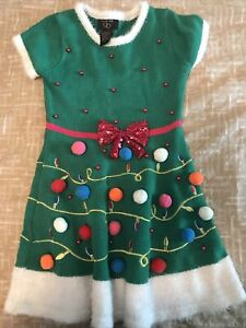 It's Our Time Girls Kid Christmas Sweater Dress Green Short Sleeve size Small