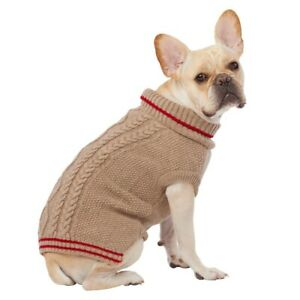Top Paw Dog Knitted Brown Sweater Turtleneck XS-XL Winter Wear Warmth Comfy