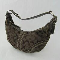 Coach Signature Canvas Leather EO6K-10073 Hobo Bag Handbag Purse Brown