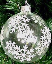 Gisela Graham Large Iridescent Snowflakes Hanging Glass Bauble Xmas Decoration