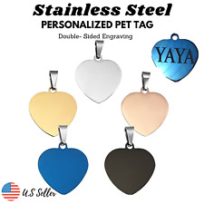 Stainless Steel Heart Dog Tags Cat Tag Charm - Real Engrave Personalized
