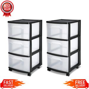 3 Drawer Plastic Storage Rolling Cart Cabinet Organizer Container Gray Set of 2