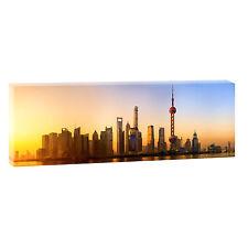 Shanghai - Skyline Bild Leinwand Poster Städte Modern Design 120 cm* 40 cm 618a