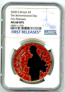 2020 GREAT BRITAIN 5PND REMEMBRANCE DAY WARRIOR POPPY NGC MS68 DPL FIRST RELEASE