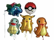 5-MYLAR Pack Pokemon, Pikachu+Friends Child's Birthday Balloons. W/O Charizard