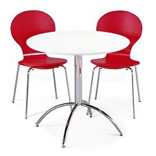 Dining Set Round White Table and 2 Red Chairs Chrome Keeler Kitchen Cafe Bistro