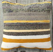 (40*40cm, 16inch) Boho Luxe hand woven kilim stripes grey mustard yellow