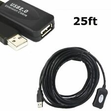 USB 2.0 25ft 25 Feet A Male to A Female Extension Extender Cable Cord Black US