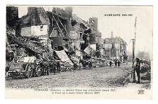 Peronne Somme - Main Street Photo Postcard 1917 WW1
