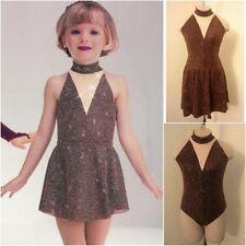 Rhinestoned Chocolate Lyrical Dance Dress Costume - Child Small