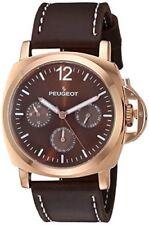 Peugeot Men's 'Rose Gold Multi-Function' Quartz Metal and Leather Sport Watch, C