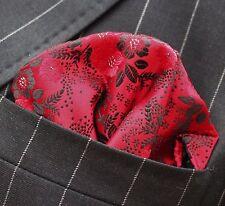 Hankie Pocket Square Handkerchief Red Black & Silver Floral