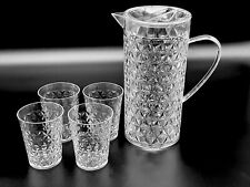 Clear Plastic Crystal Cut Drinking Water Jug Set Glasses Party Serving Pitchers