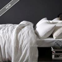 French Provincial White Pure 100% Linen Queen Bed Duvet Quilt Cover & Pillow Set
