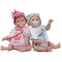 A Pair 20'' Reborn Twins Doll Boy Girl Full Body Silicone Baby Doll 2pcs kid toy