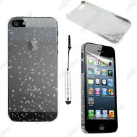 Housse Etui Coque Rigide Gouttelettes Blanc Apple iPhone SE 5S 5 + Mini Stylet