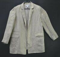Chico's Women's Size 1 100% Linen Open Front Metallic Look Blazer Career Jacket