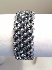 AUTHENTIC Chan Luu SILVER & CLEAR Crystals BL Leather SINGLE WRAP Bracelet CL42B