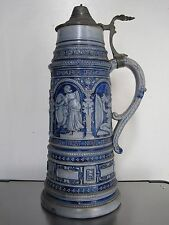 "LARGE (12"" - 1 1/2 Liter) RENAISSANCE-STYLE ANTIQUE GERMAN BEER STEIN"