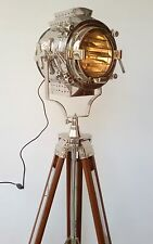 HOLLYWOOD VINTAGE SEARCHLIGHT SPOTLIGHT FLOOR LAMP BIG AND HEAVY WOODEN TRIPOD