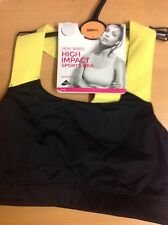 SPORTS BRA HIGH IMPACT M&S SIZE SMALL YELLOW MIX NON WIRED SEAMFREE CUPS NEW