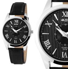 Herren Armbanduhr Schwarz/Silber Black Kunstlederarmband Datum von Akzent 129-25