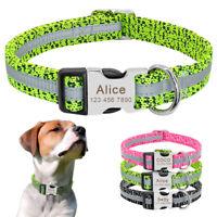 Halsband Hund Personalisiert Adressanhänger Hunde Graviert Reflektierendes Nylon