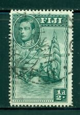 FIJI 117c SG249a Used 1941 1/2p KGVI Outrigger Canoe Perf 14 Cat$5