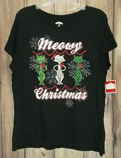 """Holiday Time Women's Size XL (16-18) """"Meowy Christmas"""" Black Short Sleeve Tee"""