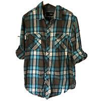 HURLEY Men Sz M Shirt Button Front Plaid Modern Surf Skate Brown Teal Tab Sleeve