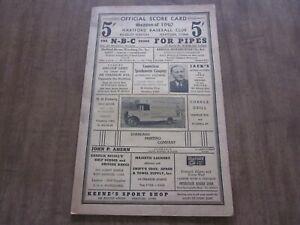 1940 Hartford Bees vs Wilkes Barre Barons New England League Baseball Program