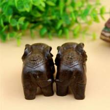 1 Pair Wood Elephant Figurine Home Desk Accessories Handmade Crafts Ornaments