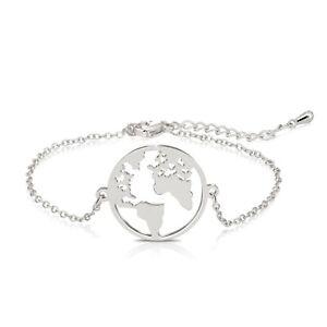 Silver Rose Gold Planet Earth World Map Globe Bracelet Fashion Jewellery Gift UK