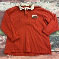 Vintage Cotton Traders Wales UK Red Long Sleeve Rugby Shirt Men Size Large